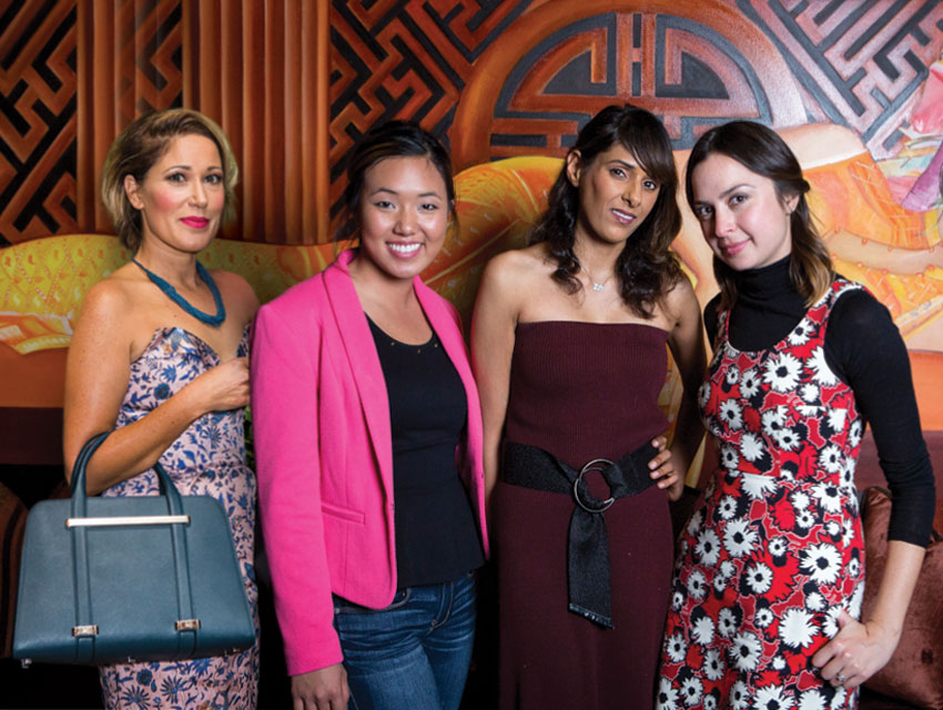 Linda Immediato, Katie Chen, Navdeep Mundi and Amelia Champion outside the private dining room at Crustacean Beverly Hills