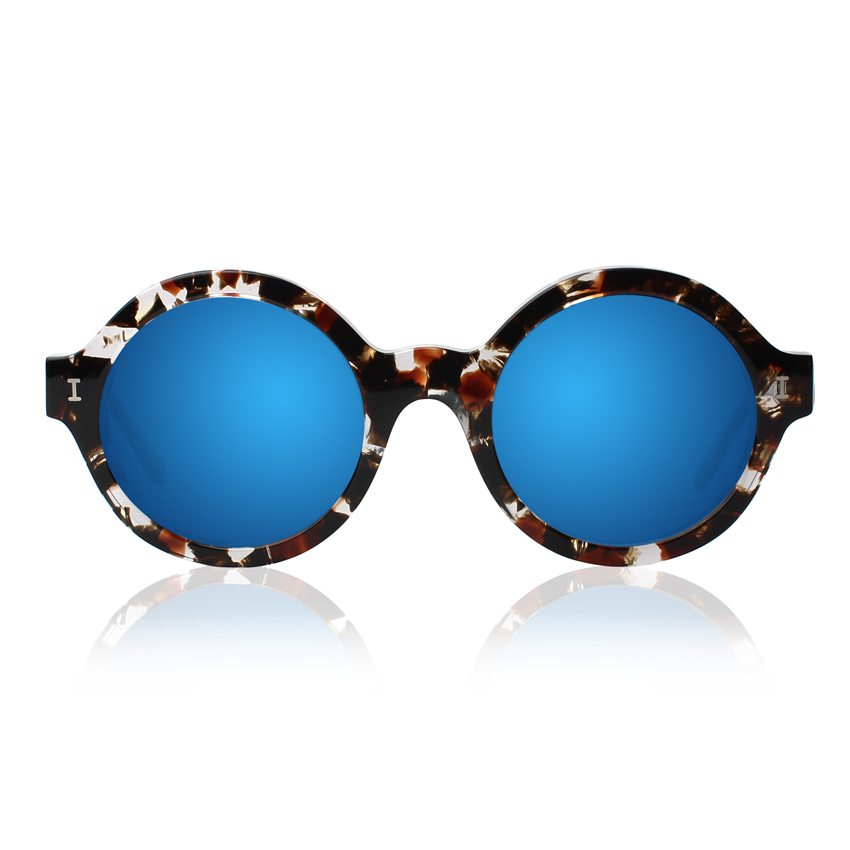 The Trend: Colored Lenses, FRIEDA ECO CLEAR MARBLE WITH BLUE MIRRORED LENSES $230