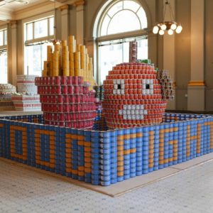 The 2014 Jurors Favorite at Canstruction L.A.: Food Fight! by PCL Construction Services, KPFF Consulting Engineers, and Callison.