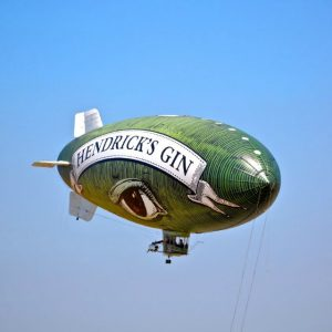 The Hendrick's Flying Cucumber up in the air