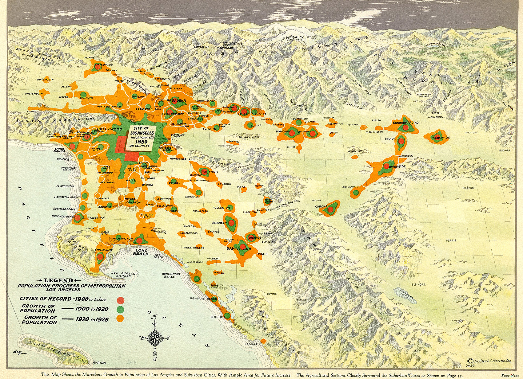 CityDig This  Map Tracks LAs Population Boom At The Turn - Los angeles geography map