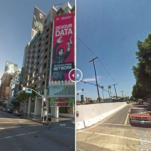 Two photos compare the intersection of Selma Avenue and Vine Street from 2007 to 2014