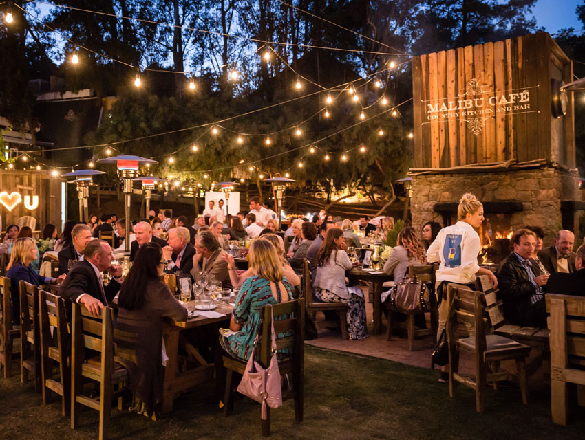 Evening dining al fresco at the Malibu Café at Calamigos Ranch