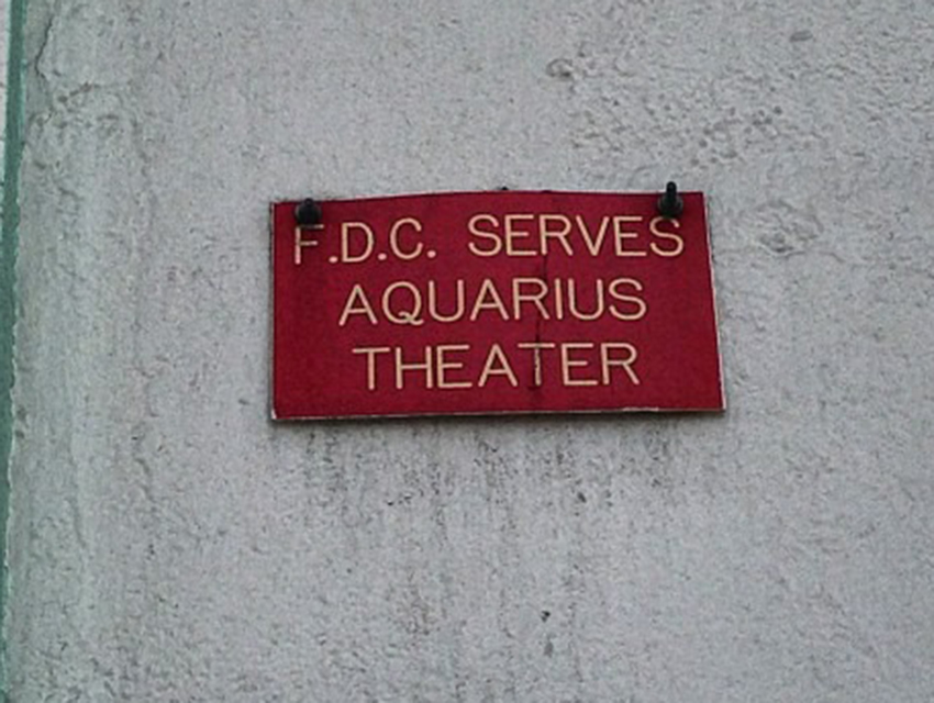 An Aquarius Theater plaque from 1969