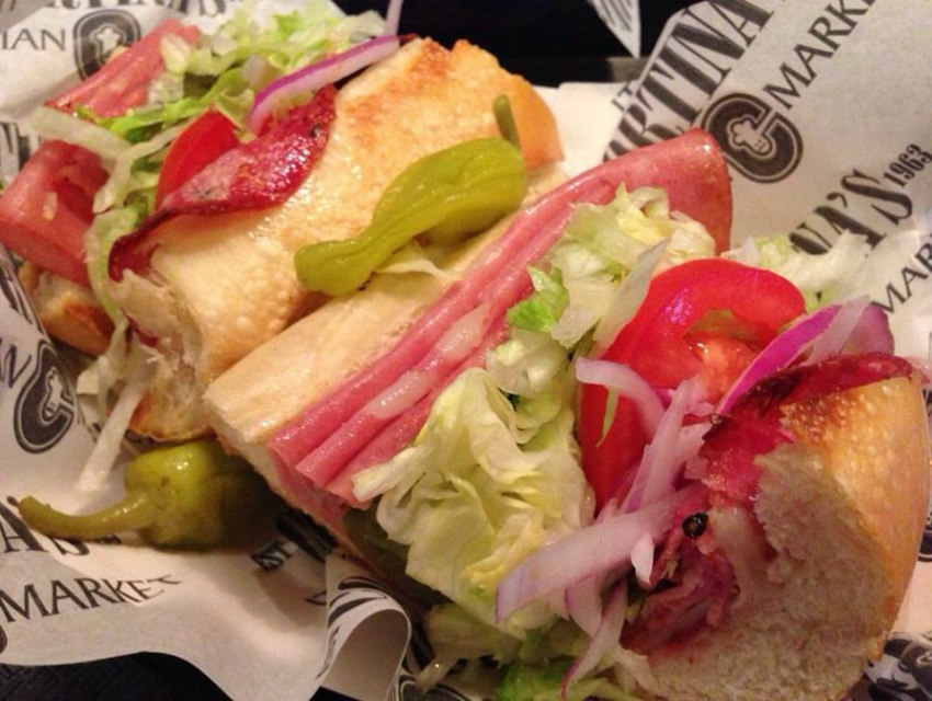 One of the fully-loaded sandwiches from Cortina's deli