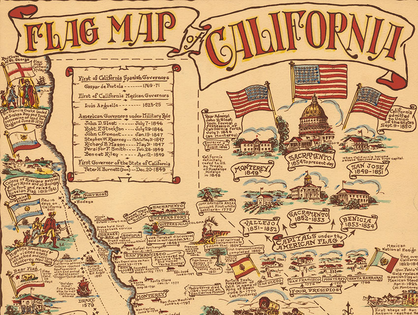 Flag Map of California, House of Goodacre, W.J. Goodacre, 1936