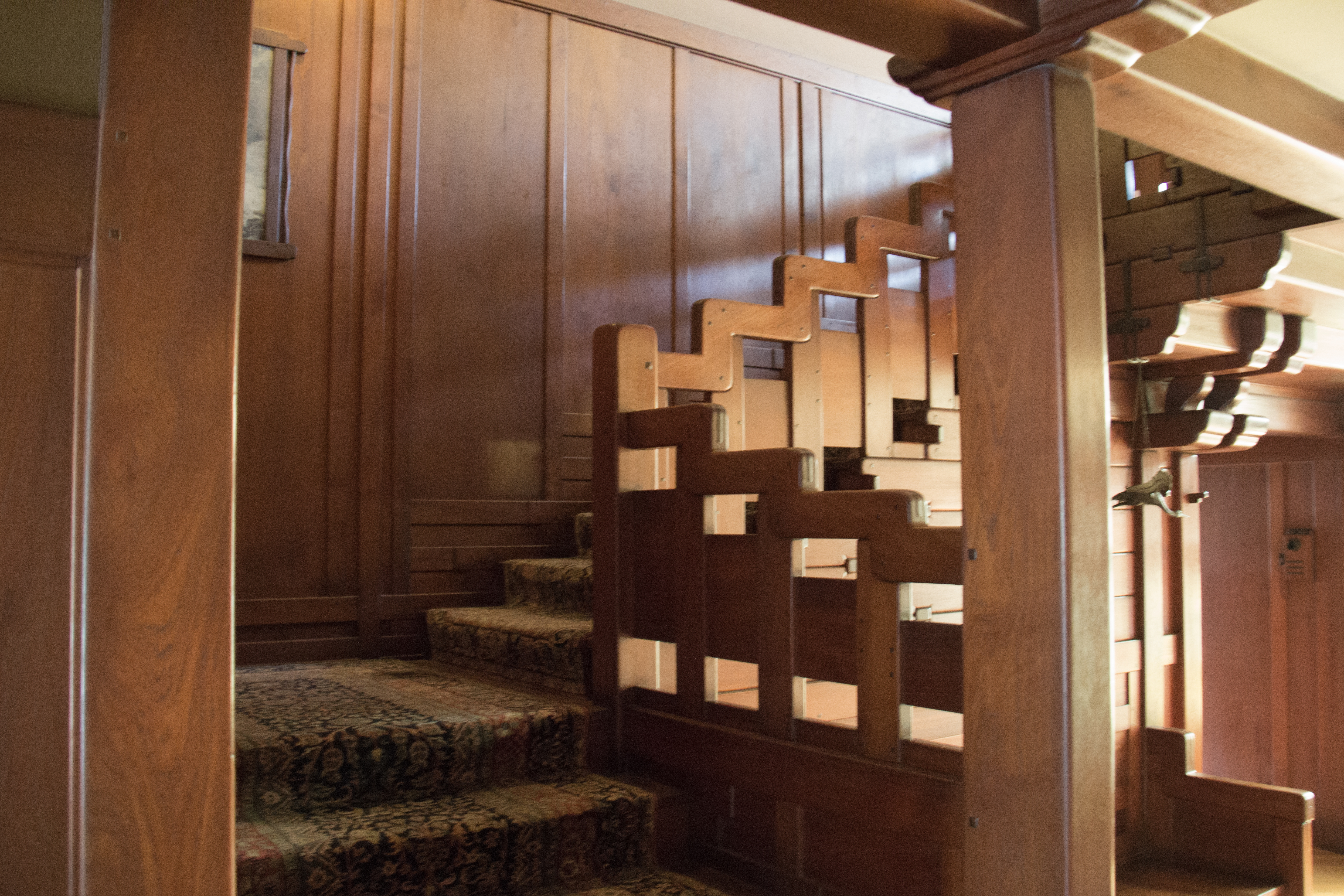 The main stairs leading to the second floor Photography by Thomas HarlanderTour the Servants Quarters at the Gamble House. Gamble House Interior. Home Design Ideas