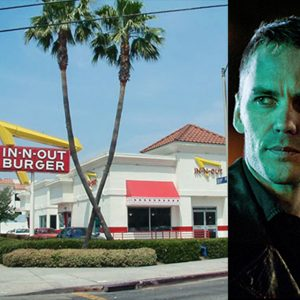 Left: In-N-Out Burger in Hollywood, courtesy youqueen.com. Right:  Officer Paul Woodrugh, courtesy hbo.com