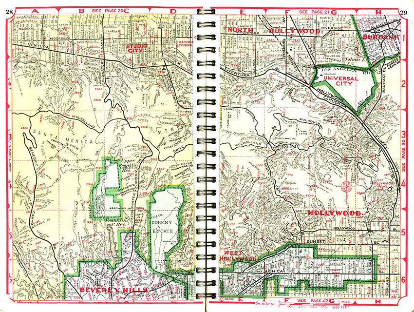 CityDig This 1946 Map Of The Hollywood Hills Bird Streets
