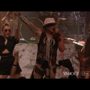 MIley Cyrus, Steel Panther's Michael Starr, and Billy Ray Cyrus
