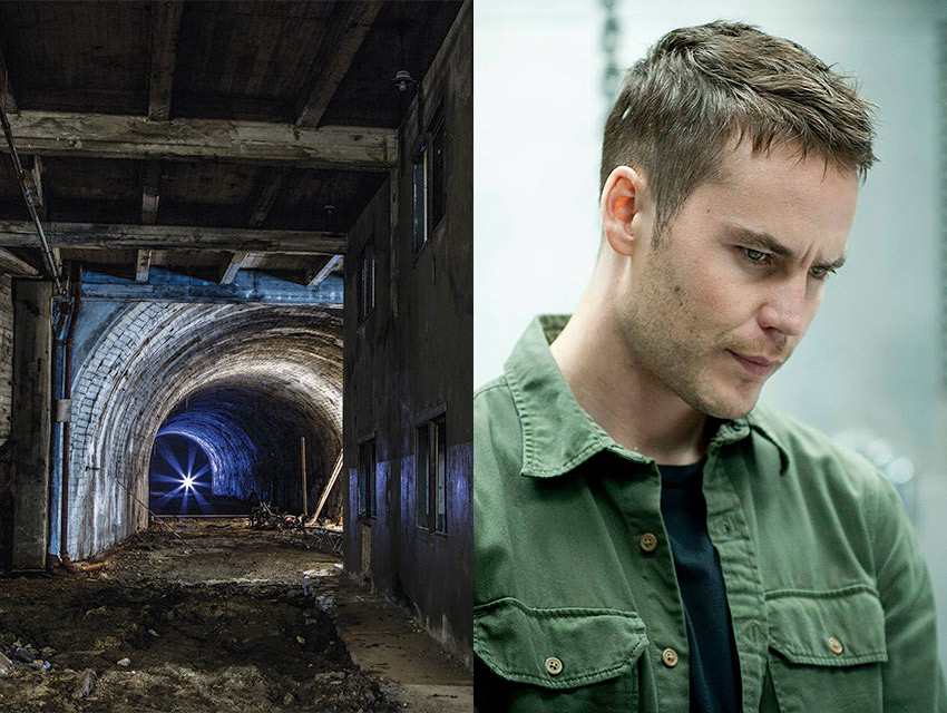 Left: The Pacific Electric subway tunnel was built in the 1920s.  Photograph by Hussein Kat. Right: Taylor Kitsch as Paul Woodrugh. Photograph courtesy facebook.com/truedetective