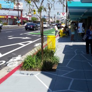 "Part of the mobility plan includes more ""complete streets,"" like this one on Reseda Boulevard, with bike lanes and wide sidewalks"