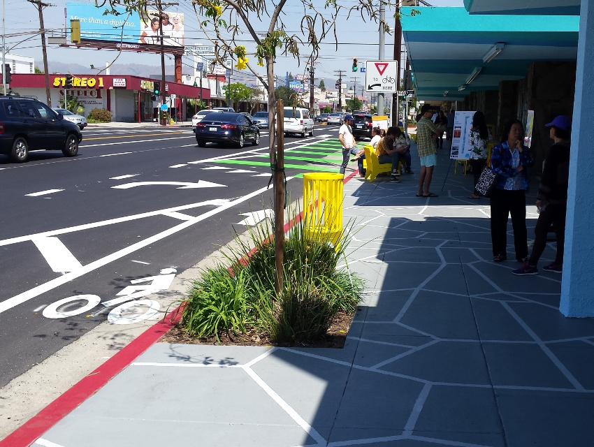 """Part of the mobility plan includes more """"complete streets,"""" like this one on Reseda Boulevard, with bike lanes and wide sidewalks"""