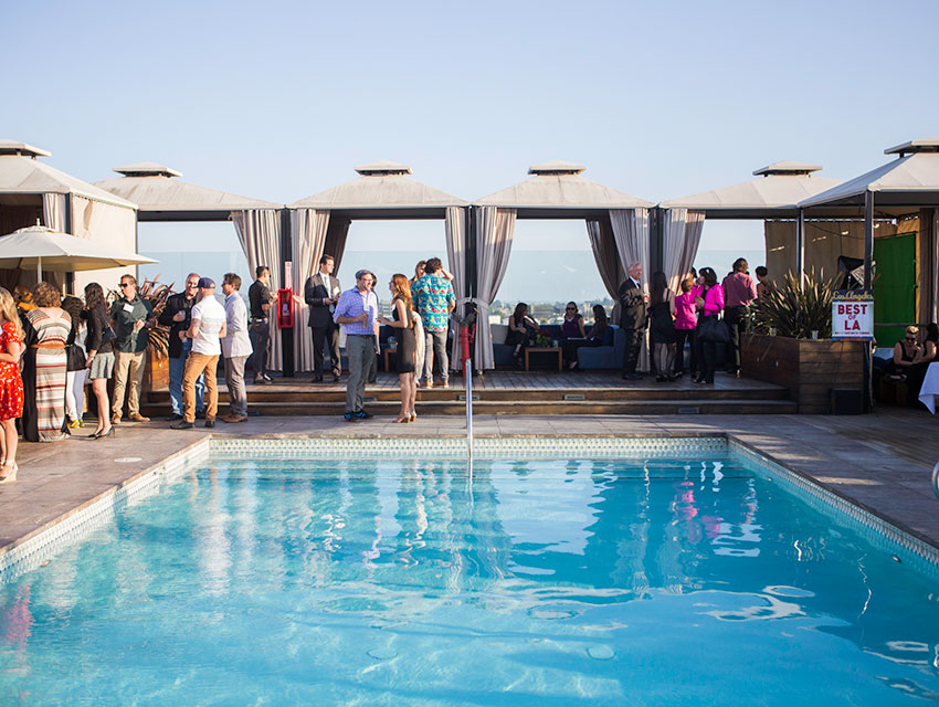 Winners, Editors and guests gathered poolside at Above SIXTY