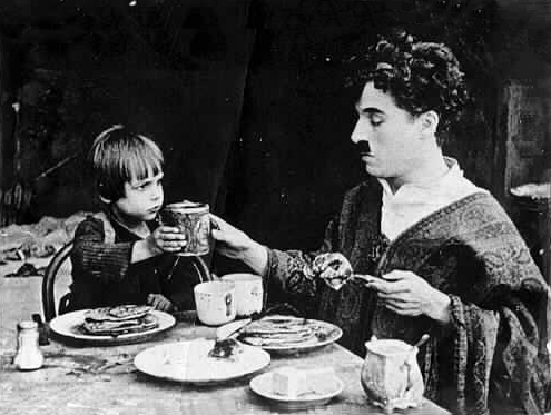 "Jackie Coogan and Charlie Chaplin in ""The Kid"" (1921)"