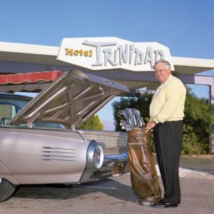 Golfer unloads his 1961 Thunderbird at Hotel Trinidad