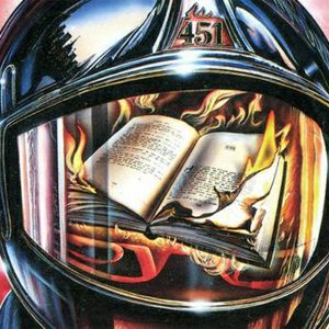 "A 1976 illustrated cover of Ray Bradbury's ""Farenheit 451."""