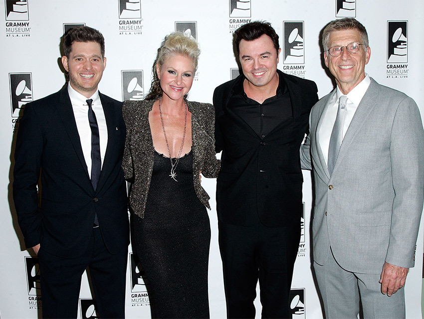Michael Bublé, Mindi Abair, Seth MacFarlane, and the GRAMMY Museum's Bob Santelli backstage at the Museum's Architects of Sound: Frank Sinatra gala on Oct. 21, 2015 at Club Nokia