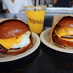 A pair of Eggslut's signature breakfast sandwiches.