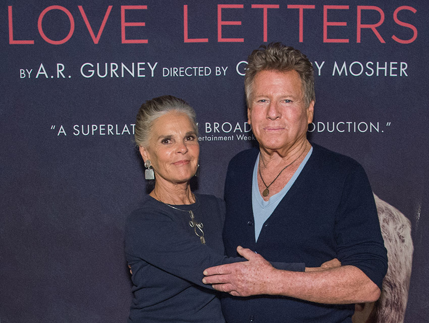 ali macgraw and ryan oneal on opening night of love letters at the wallis