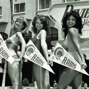 Rams cheerleaders Julie Julie Jourdan, Irma Rahwyler, and Michelle Kotzen at a public appearance at the Riviera in Las Vegas.