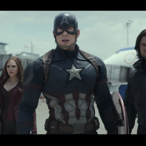 Scarlett Johansson, Chris Evans and Sebastian Stan in Captain America: Civil War