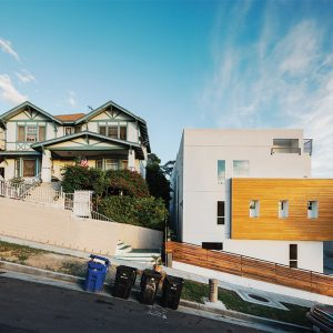 Small-lot homes are a recent addition to Douglas Street in Echo Park