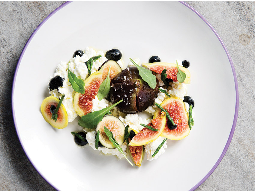 Mission figs, requesón cheese, and sea beans with agave syrup
