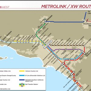A map showing connections to the Metrolink commuter system