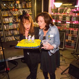 Vidiots founders, Cathy Tauber and Patty Polinger blow out the 30th candles!