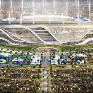 A rendering of Los Angeles Stadium presented by Manica Architecture