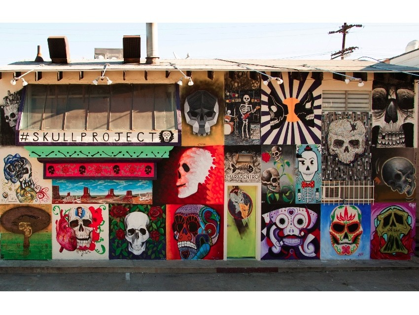 Carlos Nieto III curated the Skull Project mural at Mercado Hollywood