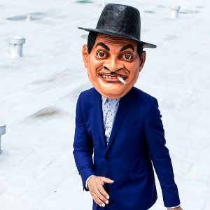 Jason Moran wears a mask of Fats Waller during his performances