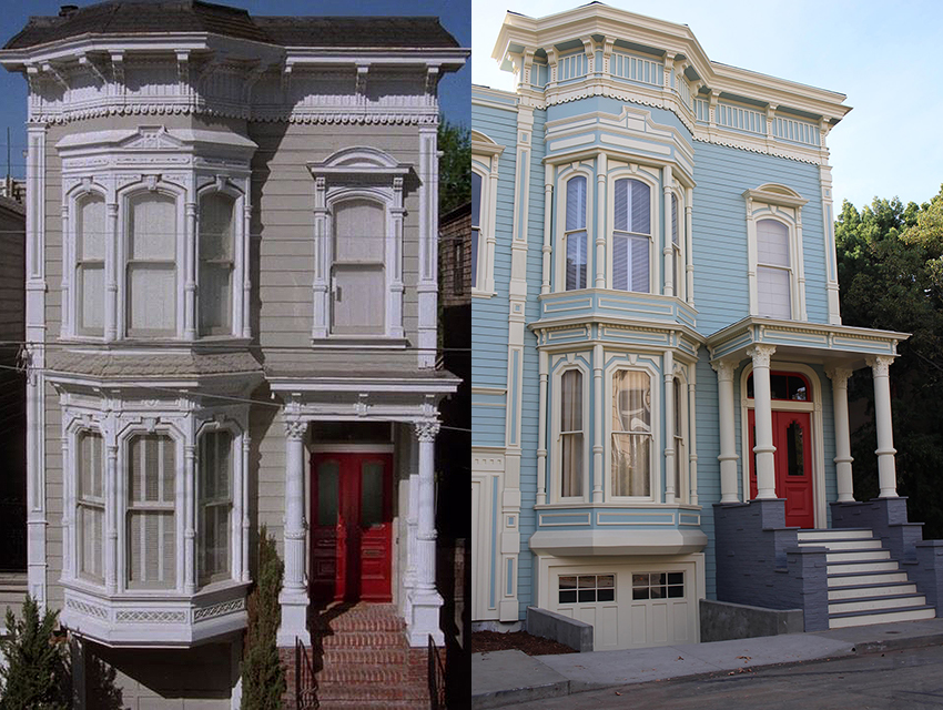 left a screen capture from fuller house featuring the home on broderick