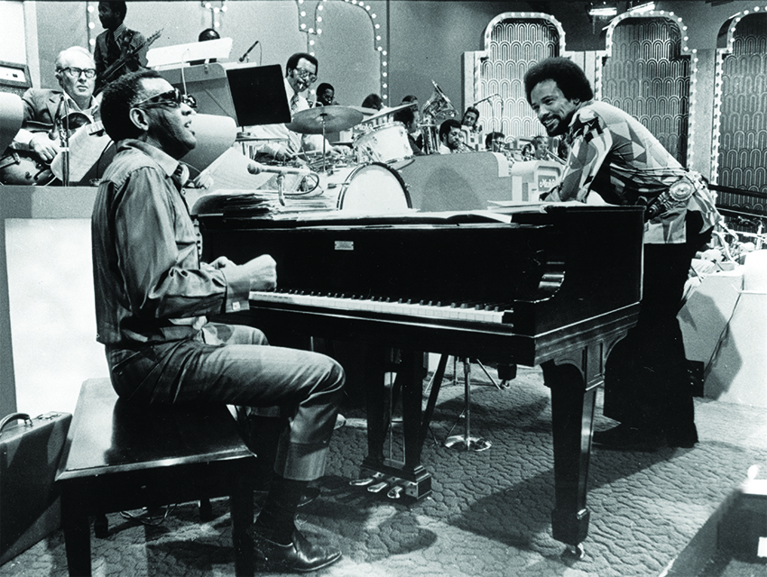 Jones and Ray Charles preparing for an appearance on a Merv Griffin television special circa 1970