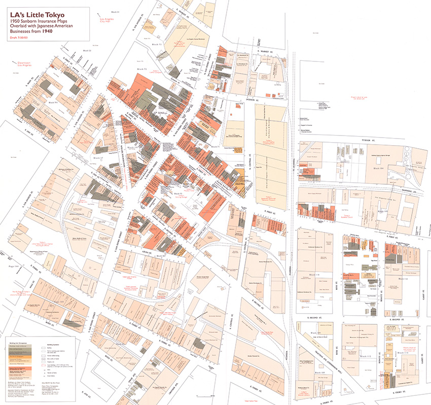LA's Little Tokyo 1950 Sanborn Insurance Maps Overlaid with Japanese-American Businesses from 1940