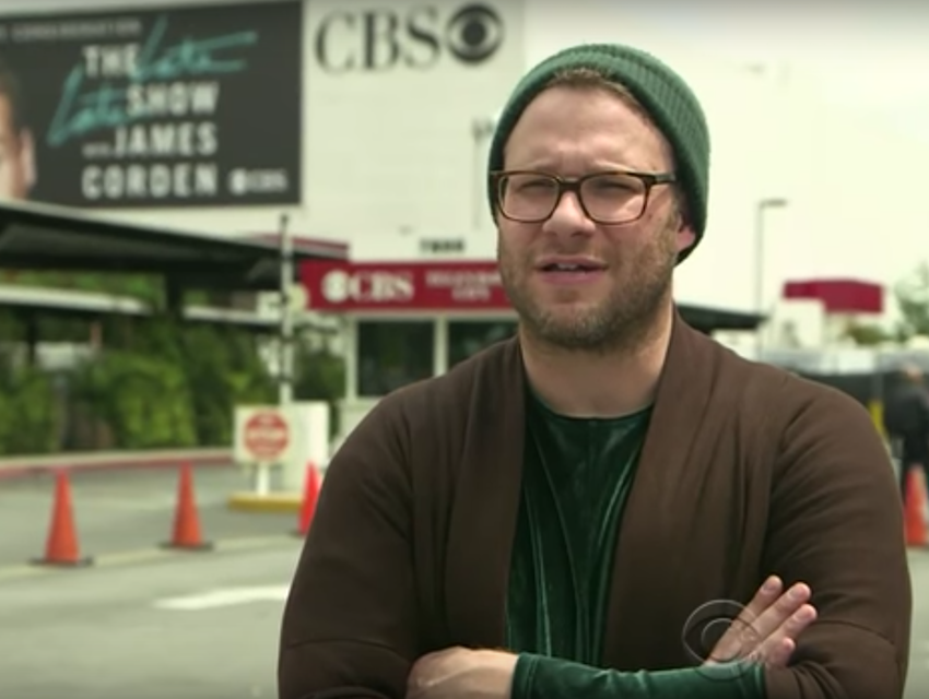 Seth Rogen in between acts
