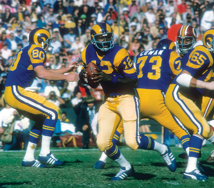 Quarterback James Harris (No. 12) played for the Rams from 1973 to 1976;