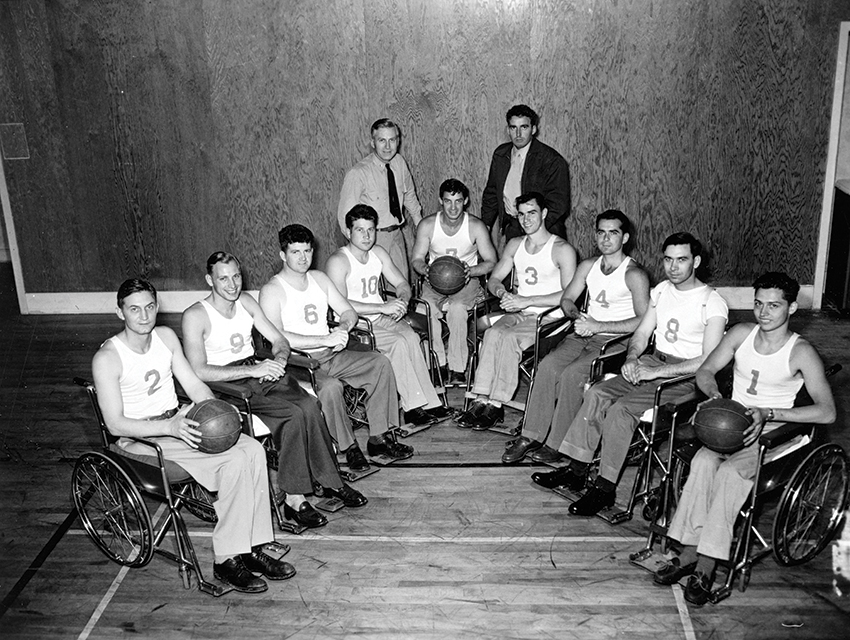 The Rolling Devils in 1947, including players Jerry Fesenmeyer (No. 1) and John Winterholler (center), with Dr. Gerald Gray (standing, left)