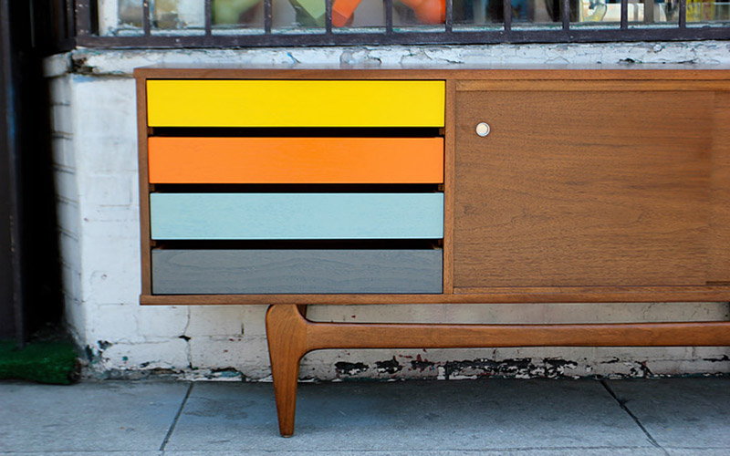 Multi Colored Drawer Credenza At West Coast Modern L.A.