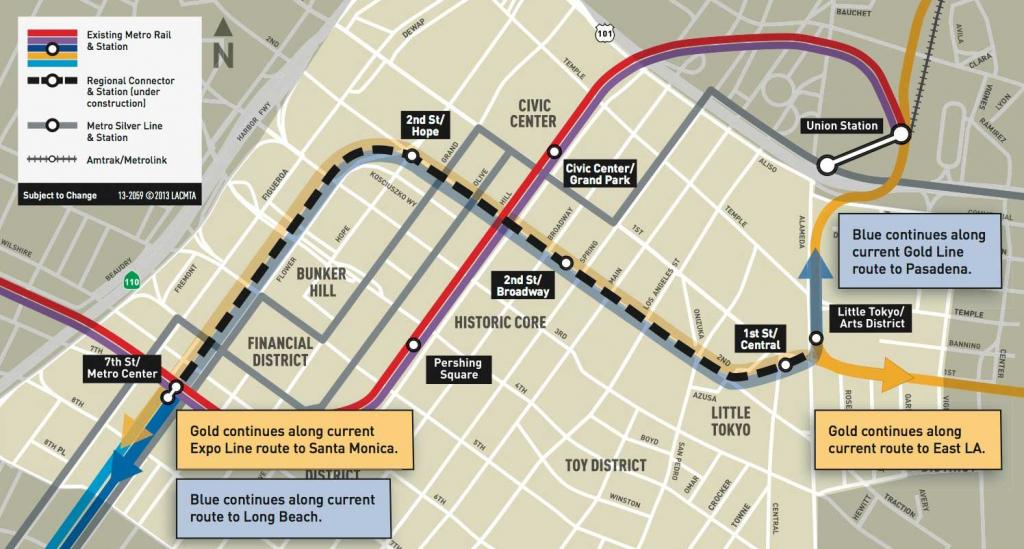 Metros regional connector will change everything los angeles magazine the regional connector map publicscrutiny Gallery