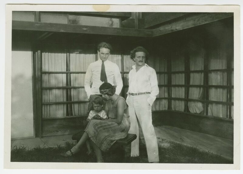 RM Schindler (right) with Richard, Dionne, and Dion Neutra, c. 1928