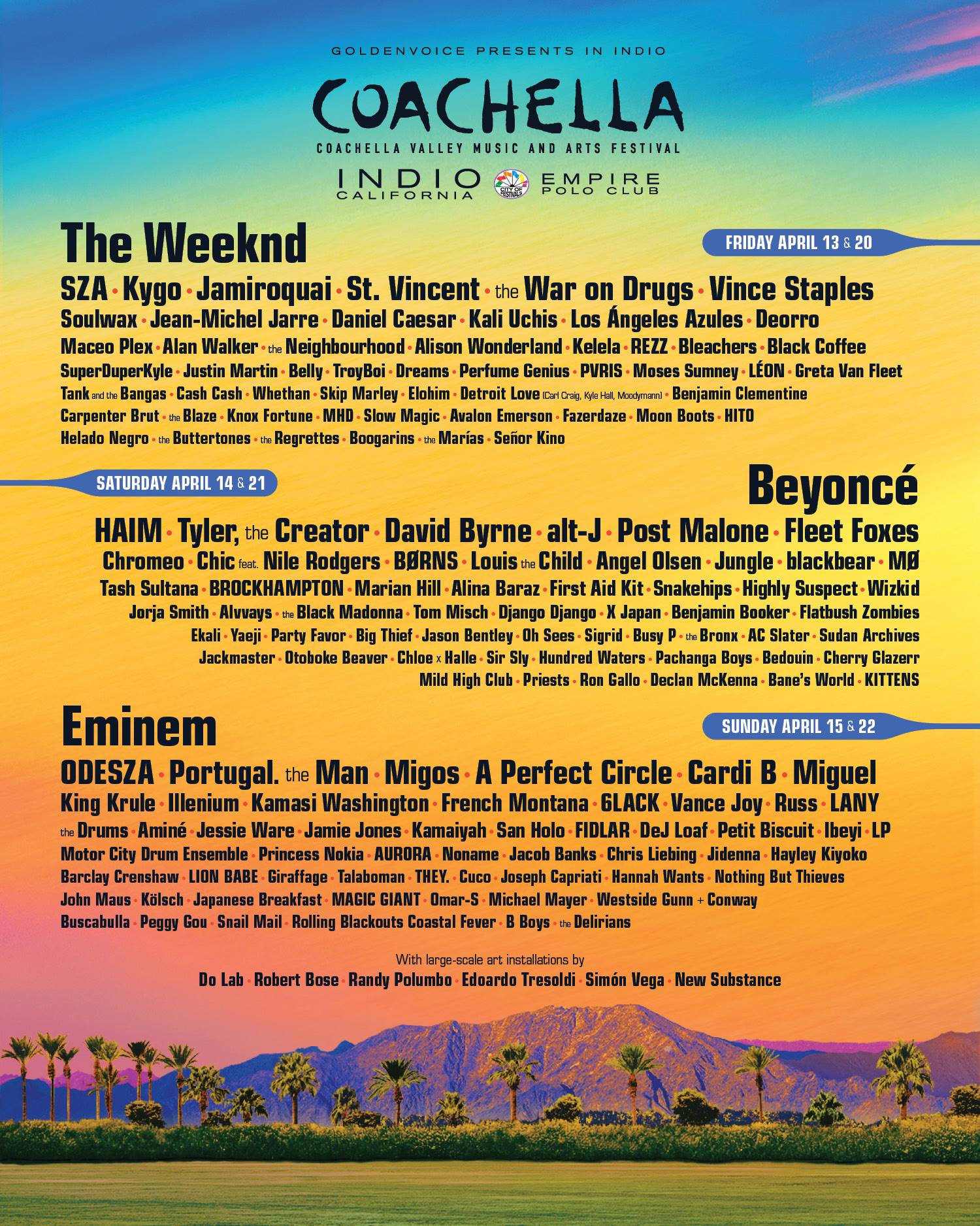 Coachella announces headliners, full lineup for 2018 weekends