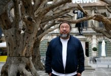 Chinese artist Ai Weiwei outside an art exhibit opening